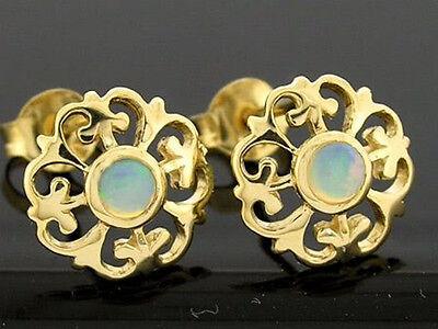 E076 - Lovely Genuine 9ct Solid Gold NATURAL Opal Fleur-de-Lis Stud Earrings
