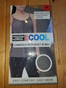 NWT-Women-039-s-Dk-Heather-Grey-32-DEGREES-Camisole-With-Built-In-Bra-Size-Small-S