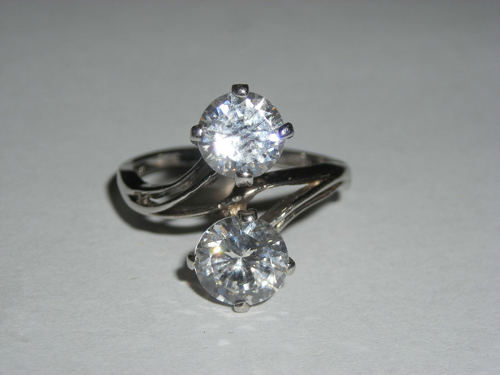Ladies 14K White gold RIng Set with 2 One Carat Cubic Zirconias  Great Look