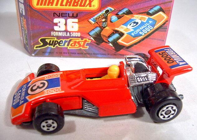 MATCHBOX No.36C FORMULE 5000 rouge body  Formule  étiquettes Comme neuf boxed