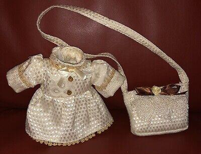 Spitzenkleid und Hose in beige Orchidee-Puppenmode 50 cm
