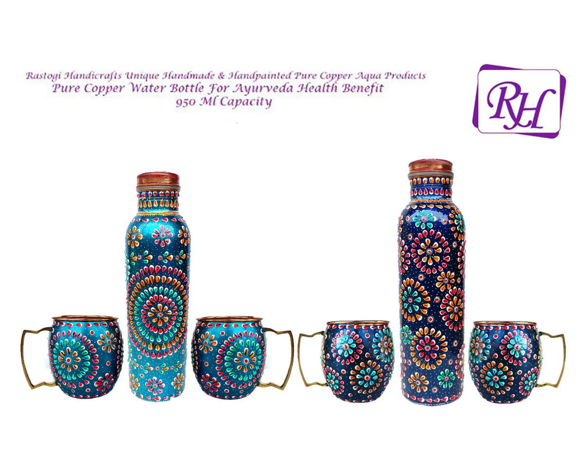 Handmade Pure Copper Outer Hand Painted Art Work Water Bottle (Joint Free )