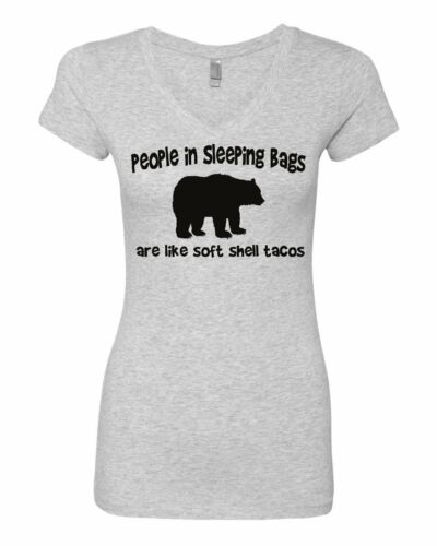 People are Soft Shell Tacos Women/'s V-Neck T-Shirt Funny Camping Brown Bear