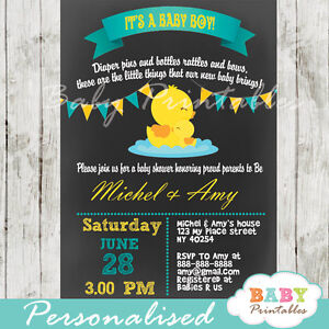 details about rubber duck baby shower invitation for boys printable