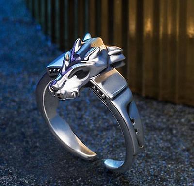 Digimon Adventure 15th Anniversary Metal Garurumon Ring 925 Silver Adjustable