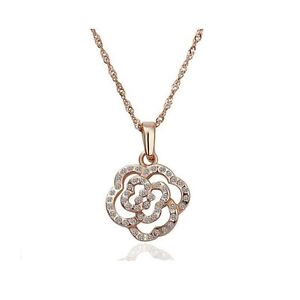 Kemstone Rose Gold Flower Necklace Teardrop Cubic Zirconia Pendant for Women,30