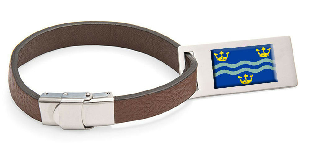 Cambridgeshire flag cuir sacgage label text engraved steel