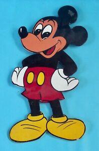 Ancienne-Grande-Figurine-Bois-peint-Personnage-de-Disney-Mickey-Mouse