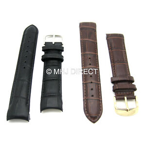 Luxury-Crocodile-Grain-Leather-Curved-End-Fitting-Quality-Watch-Strap-18-20-22mm