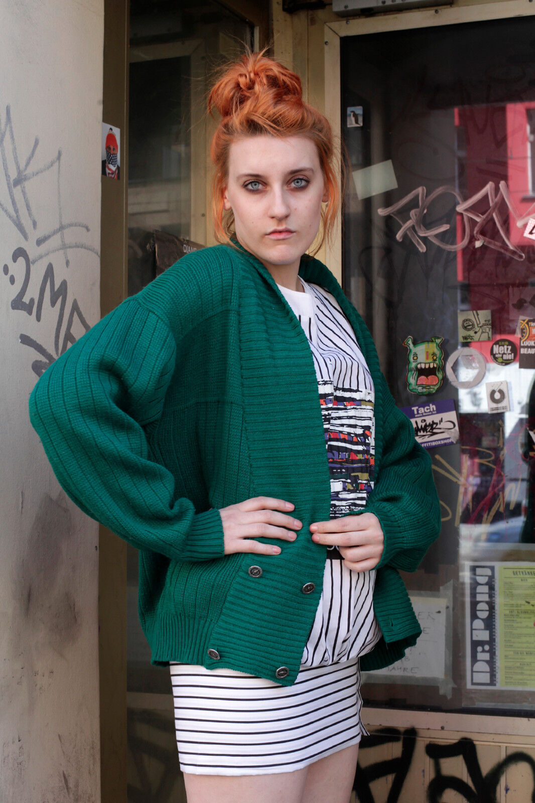 E Coz DONNA ABITO dress MINIABITO BIANCO BIANCO BIANCO bianca STRISCE 80er True Vintage 80´s 577897
