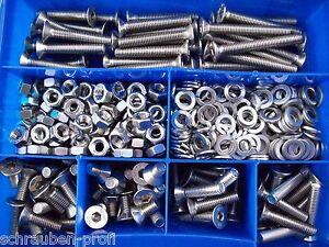 Grossteilebox-Blau-150-Teile-Senkschrauben-Innensechskant-DIN-7991-A2-Edelstahl