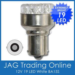 12V 19 LED BA15S 1156 WHITE GLOBE - Auto/Car/Caravan/RV/Trailer/Reverse/Interior