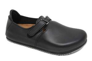 69a10d7725af Image is loading Birkenstock-LINZ-Clogs-natural-leather-black-Super-Grip-