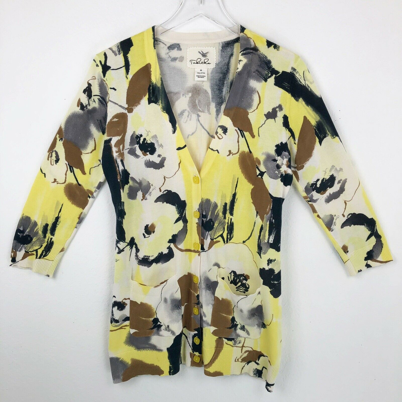 Anthropologie Tabitha Womens Sweater Cardigan Size M Medium Spring Yellow Floral