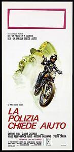 LA POLIZIA CHIEDE AIUTO LOCANDINA CINEMA FILM POLIZIESCO 1974 PLAYBILL POSTER
