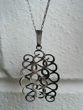 Vintage Norwegian Silver Modernist Pendant & Chain  -  Nils Elvik of Norway