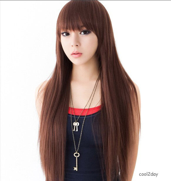 Beautiful Straight Hair Black or  Brown Long Wig Cosplay Party girl's Full Wigs