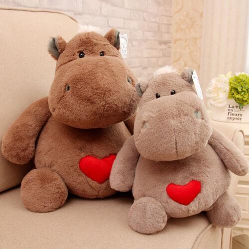 plush toy stuffed doll cartoon animal red heart hippo lover baby birthday gift