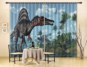Image Is Loading 3D Dinosaur 6 Blockout Photo Curtain Print Curtains