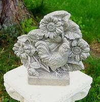 Rooster & Sunflowers Indoor/outdoor Stone Concrete Lawn Garden Statue Usa Made
