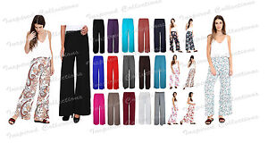 Women-Ladies-Palazzo-Plain-Flared-Wide-Leg-Pants-leggings-Baggy-Trousers