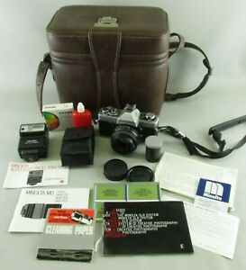 MINOLTA-XG-1-SLR-CAMERA-SET-FLASH-CASE-manual-filter-BRAND-NEW-BATTERIES