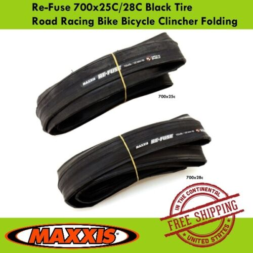 Maxxis Re-Fuse 700x25C//28C Black Tire Road Racing Bike Bicycle Clincher Folding