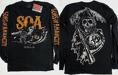 Sons of Anarchy SOA Black and White Reaper USA Flag Long Sleeve Shirt Nwt