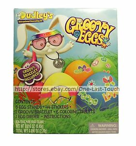 DECORATING-KIT-58pc-Easter-Egg-Hunt-GROOVY-EGGS-Non-Toxic-Food-Colors-DUDLEY-039-S