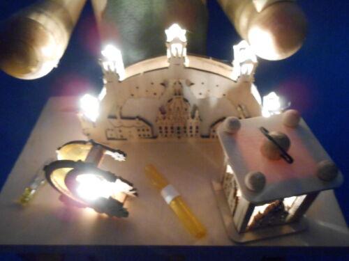 Original Erzgebirge Räuchermann Schwibbogenhersteller mit LED Licht natur NEU