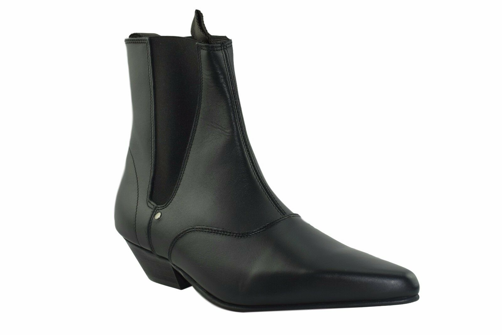 Steel Ground schwarz Leder Chelsea Stiefel Cuban Heel Ankle Beat Boot Sb002Z92