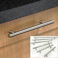 QUALITY POLISHED STEEL CHROME CABINET T BAR PULL HANDLE Door/Cupboard FULL RANGE