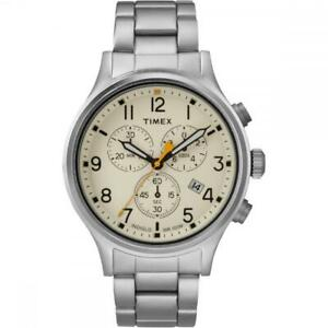 Orologio-Uomo-TIMEX-ALLIED-TW2R47600-Chrono-Bracciale-Acciaio-Beige-Sub-100mt