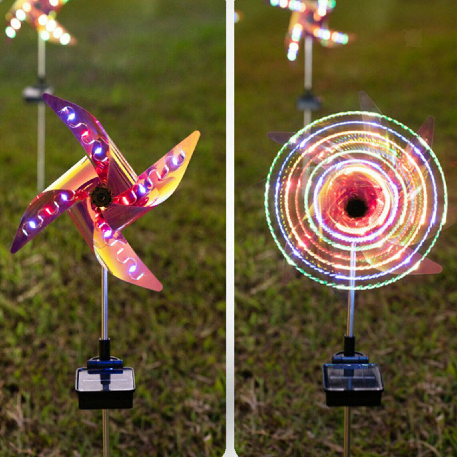 2 Pack Solar Wind Spinner Garden Decor with Multi Color Changing LED Solar