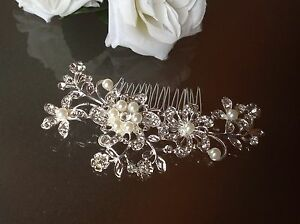 PEARL-amp-CRYSTAL-HAIR-ACCESSORY-With-FREE-GIFT-Wedding-Bridal-Comb-Clip-Diamante