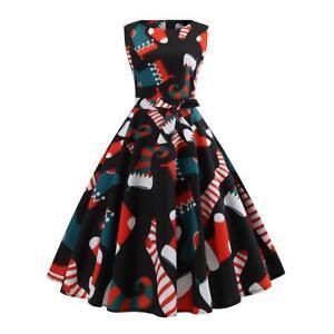 Femmes Noel Vintage Annees 1950 Rockabilly Retro Soiree Pin Up Robe Evasee Ebay