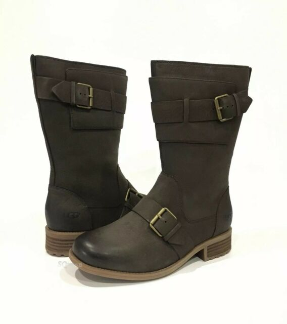 bb9a6756850 UGG Chancey Moto BOOTS Water Resistant Leather Stout Sz 11 Authentic 1019651
