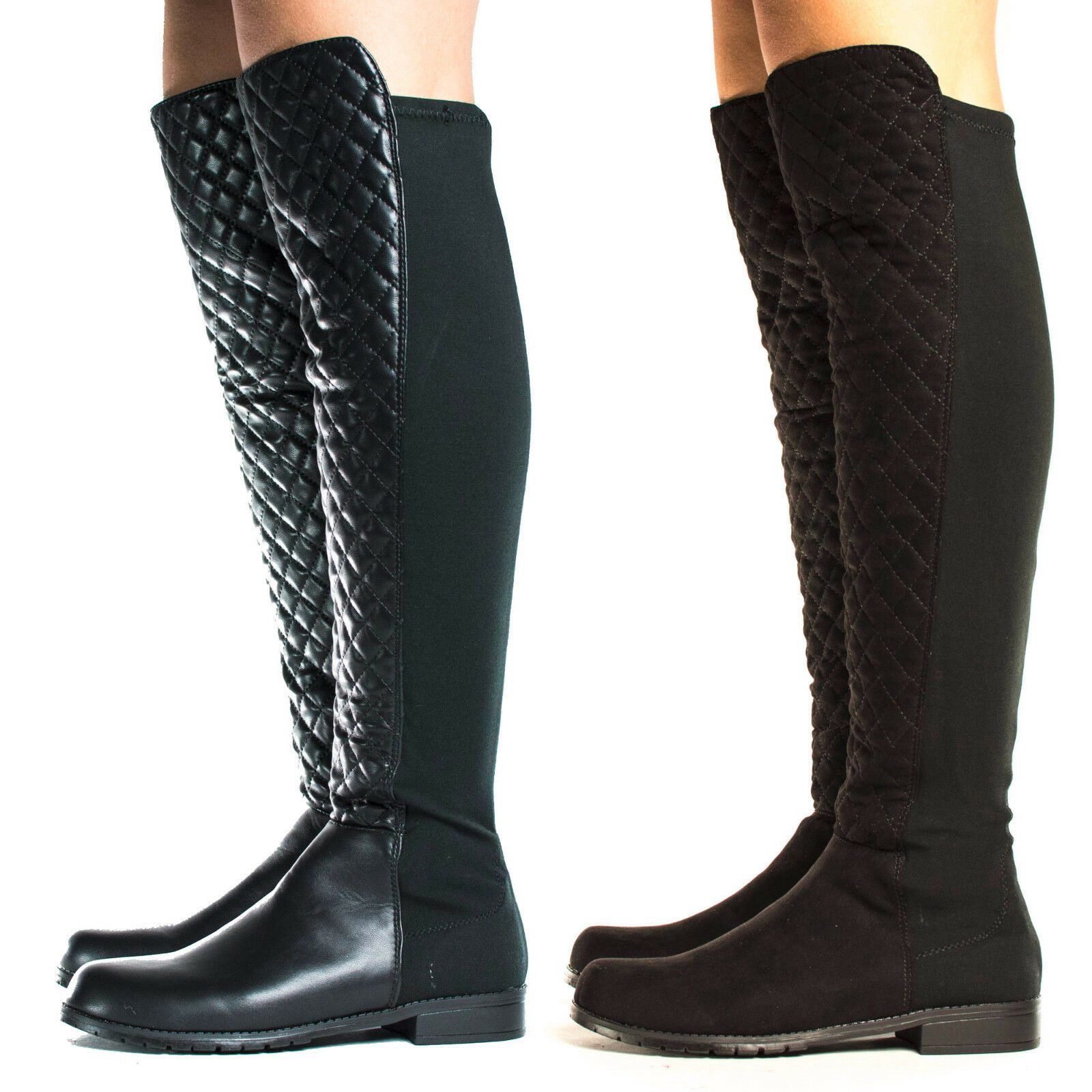 Iconic04 Over The Knee Round Toe Quilted Shaft Lug Sole Riding Boots