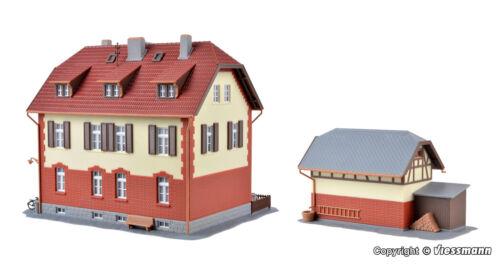 Kibri h0 39315 FERROVIERE-abitazione con ponteggi edili e accanto a edificio Nuovo//Scatola Originale