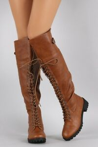 a5550ed5928 Details about Dollhouse Women's Commander Knee High Combat Boot Size 10 Tan