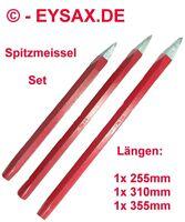 Spitzmeissel, Handmeissel, Set, 255mm, 310mm, 355mm, Sechskant, Rot
