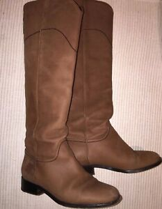 100-Authentic-CHANEL-Leather-Ascot-CC-Knee-High-Riding-Boots-Euro-Size-37-US-7