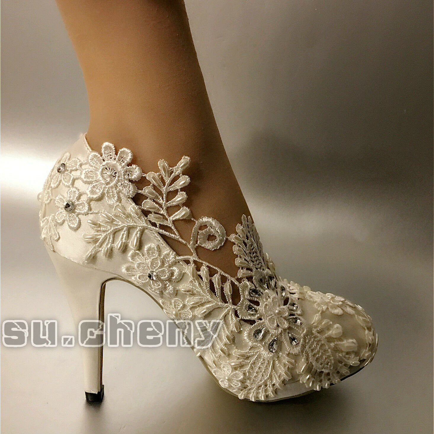 Su.cheny 3  4  heels White light ivory leaf lace satin pump Wedding Bridal shoes