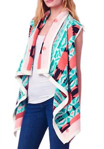 Womens Sleeveless Aztec Wrap Size S Tribal Draped Swing Cardigan Cardigan Cardigan Dorian Graphic 8fe71c