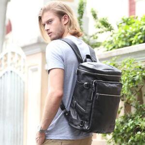 Men-Genuine-Leather-Black-Backpack-15-6-034-Laptop-Bookbag-College-Travel-Daypack
