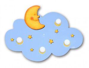 Plafoniere In Legno Usate : Plafoniera lampadario nuvoletta celeste luna stella plastica legno