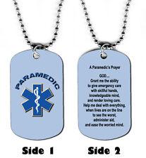 DOG TAG NECKLACE - Paramedic's Prayer Emergency Medical Jesus God Responder