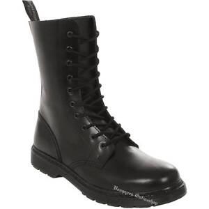 Boots And Braces Easy 10-Loch Schwarz Leder Stiefel Schuhe ohne Stahlkappe Black