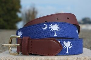 NWT-South-Carolina-Flag-Needlepoint-Belt-Palmetto-State-Magnolia-Row
