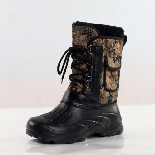 Winter Men Camo Fleece Snow Shoes Warm Waterproof Fishing Hiking Ski Ankle Boots